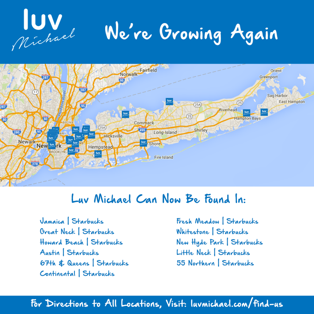 Luv Michael Is Now Available At Select Long Island Starbucks